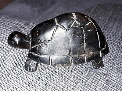 Large Antique African Wooden Hand Carved Tortoise Carving Ebony Hard Wood
