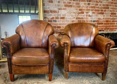 Pair Of Vintage Sheepskin Leather Armchairs