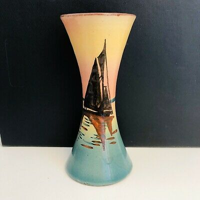 Stunning Sailboats at Sunset Hand Painted Design Pottery Sand Timer Shaped Vase