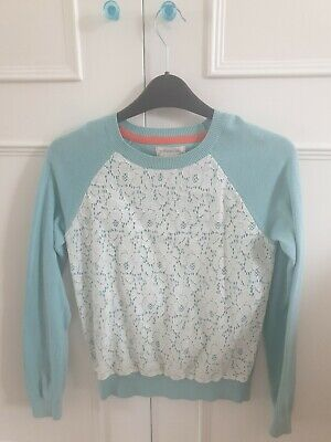 Boden Johnnie B Girls Teal Cotton With Lace Trim Jumper Age 11-12 Years
