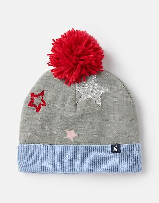 Joules Girls Halley Star Intarsia Hat - GREY STAR Size 3yr-7yr