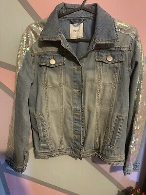 Girls Next Light Blue Denim Jacket With Sequin Arm Detail (Age 11)