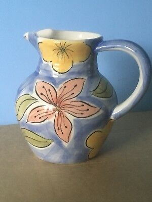 Blue Pottery Jug With Brightly Painted, Yellow & Pink Flowers - Continental.