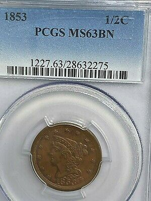 1853 Half Cent PCGS MS63 BN Nice for Grade Best Price on Ebay CHN