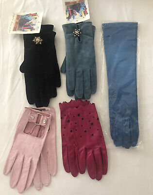 Lot Of 5 Gloves Soft Leather Tall Swede Size 6 1/2