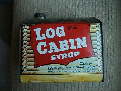 Vintage Towle's Log Cabin Syrup Tin with Rare Frontier Inn