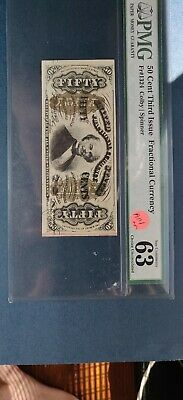 PMG 50 Cent Third Issue Fractional Currency Fr#1324 Colby/Spinner 63 CU