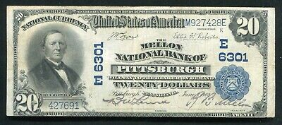 1902 $20 The Mellon National Bank Of Pittsburgh, Pa National Currency Ch. #6301