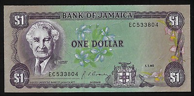 Jamaica(1)Bank Note  1 Dollar  1.1 1990  P  68 A  D  Uncirculated