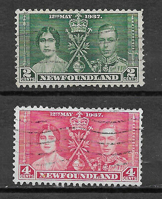 Newfoundland ,  Coronation Issue , 1937 , Set Of 2 Stamps , Perf , Used