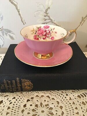 Pretty Pink Teacup Duo Cabinet Cup English China
