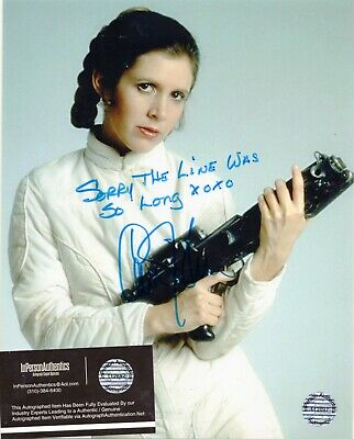 Carrie Fisher - Star Wars Princess Leia - Hand Signed Autographed Photo With Coa