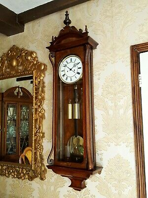 Antique 2 weight Vienna regulator wall Clock by Lenzkirch