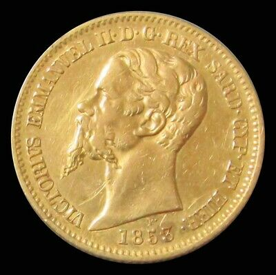 1853 Gold Sardinia 6.45 Grams State Of Italy 20 Lire Coin
