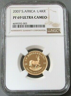 2007 GOLD SOUTH AFRICA 8.482 GRAMS 1/4oz KRUGERRAND COIN NGC PROOF 69 UC