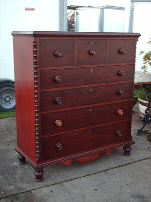 Large Victorian  Mahogany Country Chest  Of  Drawers