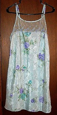 California Dynasty Aqua Floral Short Chemise Nightgown w/LaceTop/Dble Straps-M*