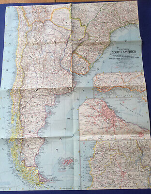 National Geographic 1958 Map Of Southern South America.Preowned.