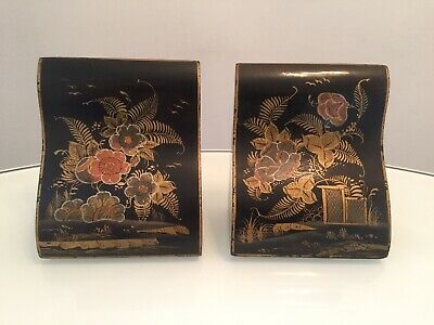Pair Of Hand Painted Antique Japanese Wooden Bookends