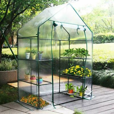 Walk In Greenhouse PVC Plastic Garden Grow Green House with 4 Shelves UK New
