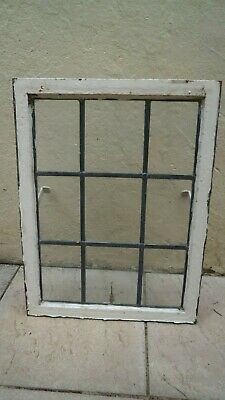 Old cast iron windows with leaded glass 67 x 48 cm