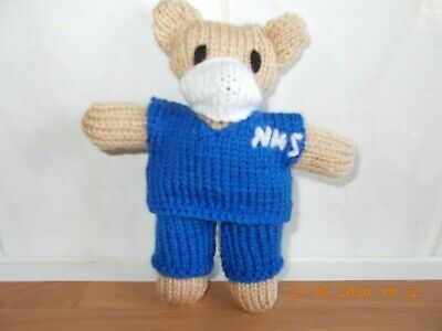 """KNITTED TEDDY IN NHS SCRUBS approx 5""""        free P&P"""