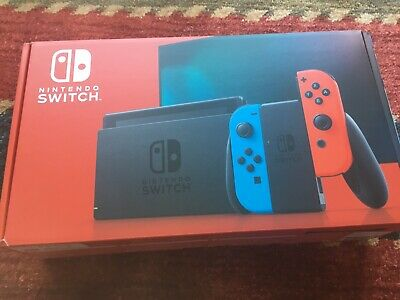 Nintendo Switch Console With Neon Red and Blue Joy Con V2 IN HAND FREE SHIP