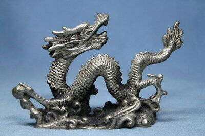 Decorative Handwork Ancient Miao Silver Carved Dragon Royal Auspicious Statue