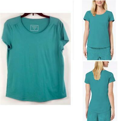Charter Club Womens Short Sleeve Cotton Pajama Top Pagoda Blue Size M New