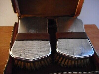 Pair Vintage Solid Sterling Silver Clothes Brushes Cased - Birmingham