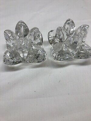 Clear Glass Candle Stick Holders-One Pair, Paper Weight Heavy