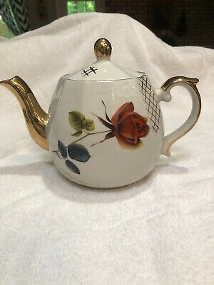 Beautiful Vintage Staffordshire teapot Rose England 2-69 Signed By Artist NCOC