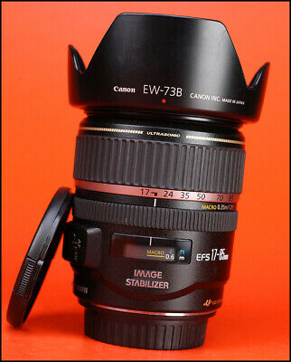 Canon EF-S 17-85mm F4-5.6 IS Image Stabilizer USM +Front & Rear Lens Caps & Hood