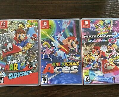 Lot of 3 EMPTY Nintendo Switch Game Cases! Mario Odyssey, Kart, + Tennis Aces