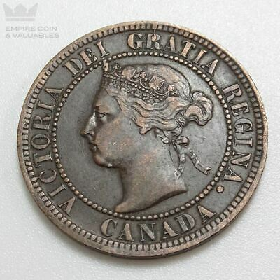 1896 Canada Large One Cent 1c Queen Victoria Nice Coin Good Details *W1E2