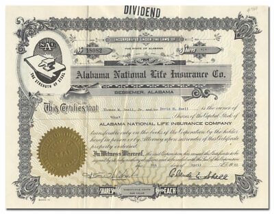 Alabama National Life Insurance Co. Stock Certificate