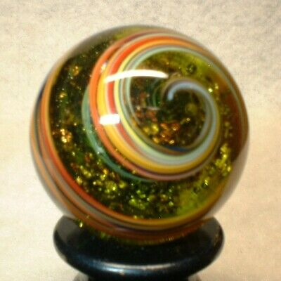 "Willis Marbles Color Green Foil 29/32"" Marbles Hand Made Glass Marble"