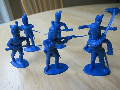 Timpo Recast 6 Different French Grenadiers in blue - 54mm unpainted toy soldiers