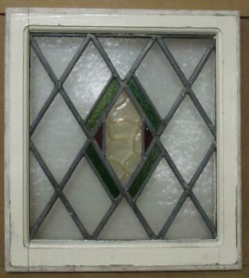 "OLD ENGLISH LEADED STAINED GLASS WINDOW Pretty Diamond Design 18.75"" x 20.75"""