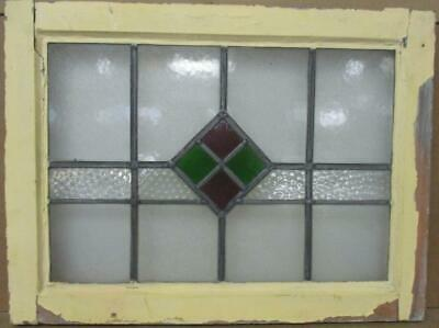 """OLD ENGLISH LEADED STAINED GLASS WINDOW Simple Diamond Design 23"""" x 17.25"""""""