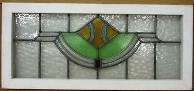"OLD ENGLISH LEADED STAINED GLASS WINDOW TRANSOM Abstract Design 33.25"" 15.25"""