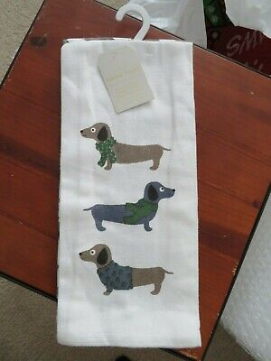 Sweater Dachshund Set of 2 Fun Decorative Kitchen Towels NEW with TAGS