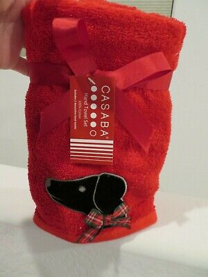 Dachshund Decorative Red Black Hand Towel Set with Bowtie - NEW Casaba