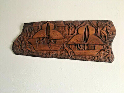 LARGE Vintage Haitian Wood Carving Wall Art - Signed