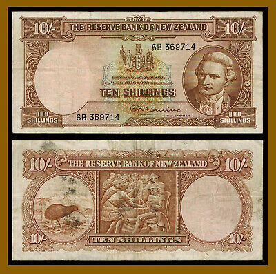 New Zealand 10 Shillings, 1956-1960 P-158c Sig Fleming Fine / Very Fine (F/VF)