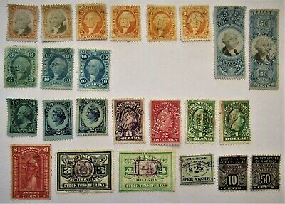 Back of Book Revenue Tax Stamps, Stock Tax & Others 24 Stamps Some Duplicates