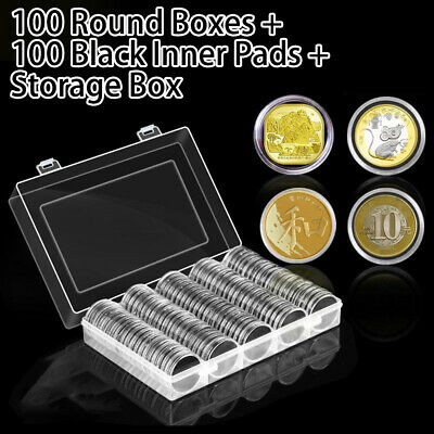 100Pc 30mm Coin Case Capsules Holder Clear Plastic Round Storage Box Gift Set