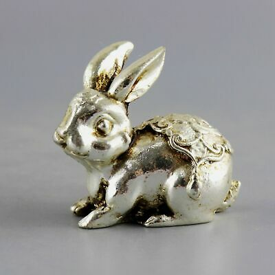 Collect Old Miao Silver Hand-Carved Lovely Rabbit Delicate Vivid Decorate Statue