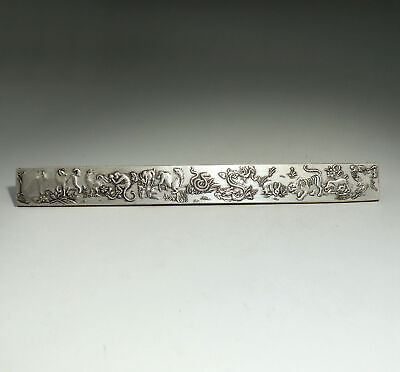Collect China Old Miao Silver Hand-Carved Twelve Zodiac Luck Paperweight Statue