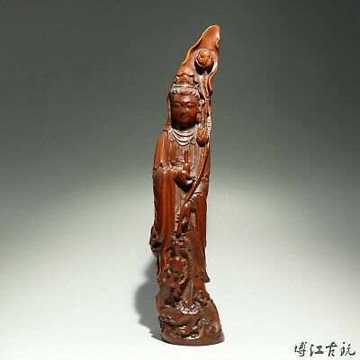 Collect China Old Boxwood Hand-Carved Moon Guan Yin Delicate Auspicious Statue
